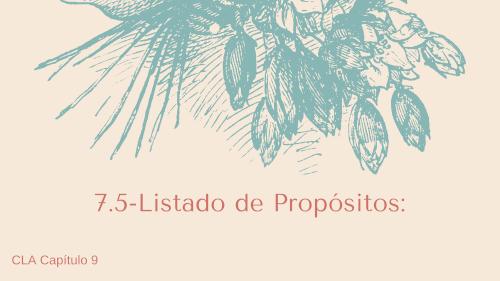 7.5 - Listado de Propósitos.